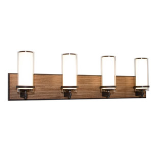 Arden Oil Rubbed Bronze and Walnut Finish Four-Light LED Bath Vanity