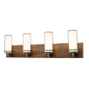 Arden Satin Nickel and Walnut Finish Four-Light LED Bath Vanity