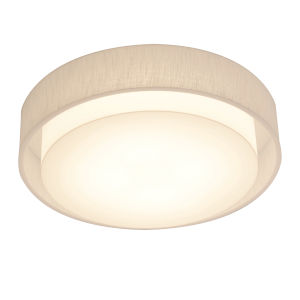 Sanibel White 16-Inch LED Flush Mount with Linen White Shade