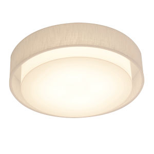 Sanibel White 18-Inch LED Flush Mount with Linen White Shade