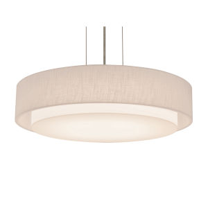 Sanibel Satin Nickel 16-Inch LED Pendant with Linen White Shade