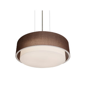 Sanibel Satin Nickel 18-Inch LED Pendant with Mocha Linen Shade