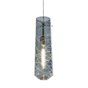 Spun Satin Nickel One-Light Mini Pendant with Steel Blue Shade