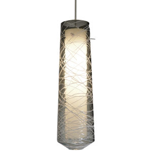 Spun Satin Nickel 3000K 120V LED Mini Pendant with Smoke Shade