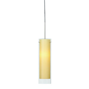 View Satin Nickel 3000K 120V LED Mini Pendant with Cream Shade