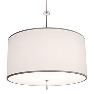Athens Brushed Nickel Three-Light Medium Base Round Pendant with Ivory Silk Dupioni