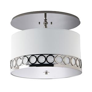 Astoria Polished Nickel Three-Light Semi Flush Mount with Ivory Silk Dupioni