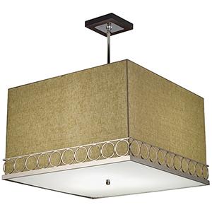 Astoria Polished Nickel Three-Light 24-Inch Square Pendant with Ivory Silk Dupioni and Walnut Canopy