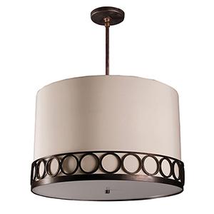 Astoria Hand Rubbed Bronze Three-Light Medium Base Round Pendant with Ivory Silk Dupioni
