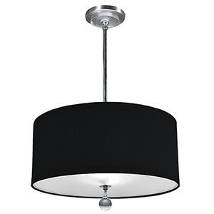 Audrey Polished Nickel 277V LED 24-Inch Pendant with Black Silk Dupioni