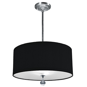 Audrey Hand Rubbed Bronze 277V LED 24-Inch Pendant with Black Silk Dupioni