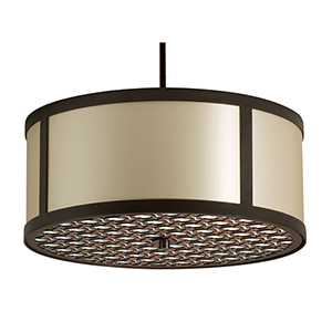 Brentwood Polished Chrome Three-Light Medium Base Round Pendant with Ivory Silk Dupioni