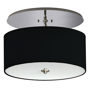 Classique Hand Rubbed Bronze 120V LED Semi Flush Mount with Black Linen