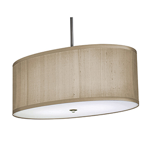 Classique Brushed Nickel Two-Light Oval Pendant with Ivory Silk Dupioni