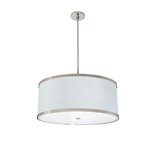 Helix Hand Rubbed Bronze 277V LED 24-Inch Pendant with White Silk Dupioni