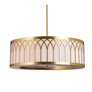 Laser Cut Brushed Brass Three-Light 20-Inch Medium Base Minnesota Pendant with Ivory Silk Dupioni