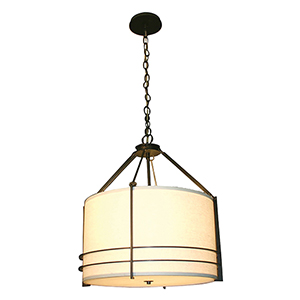 Mesa Burnt Penny 120V LED Round Pendant with Natural Raw Silk
