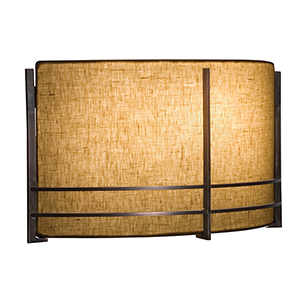 Mesa Hand Rubbed Bronze Two-Light ADA Wall Sconce with Natural Raw Silk