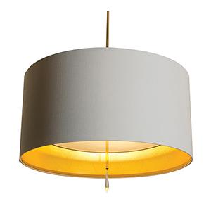 Paris Polished Nickel Three Light 24-Inch  Medium Base Pendant with White Silk Dupioni and Gold Inner