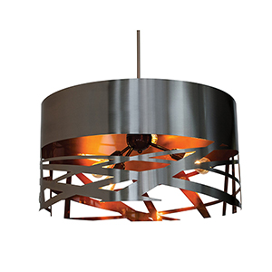 Tempest Matte Black Five-Light 30-Inch Pendant with Matte Black Outer Gold Inner