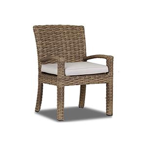 Havana Tan and Carmel Dining Chair with Canvas Flax Cushion