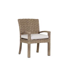 Havana Tobacco Leaf Wicker Dining Chair with Cushion in Canvas Flax