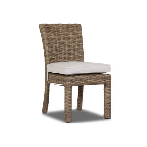 Havana Tobacco Leaf Wicker Armless Dining Chair with Cushion in Canvas Flax