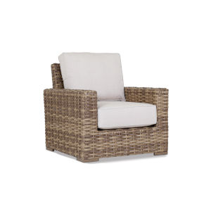 Havana Tobacco Leaf Wicker Club Chair with Cushion in Canvas Flax