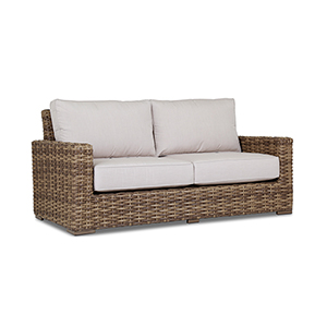 Havana Tan and Carmel Loveseat with Canvas Flax Cushion