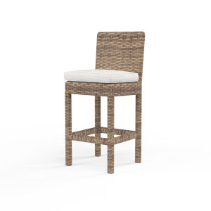 Havana Tobacco Leaf Wicker Outdoor Barstool with Cushion in Canvas Flax