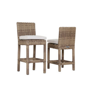 Havana Tobacco Leaf Wicker Outdoor Counter Stool with Cushion in Canvas Flax