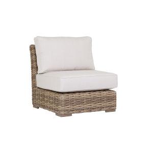 Havana Tobacco Leaf Wicker Armless Club Chair with Cushion in Canvas Flax