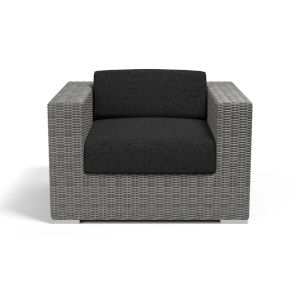 Emerald II Steel Grey Wicker Club Chair with Cushion in Spectrum Carbon