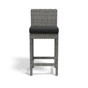 Emerald II Steel Grey Wicker Outdoor Barstool with Cushion in Spectrum Carbon