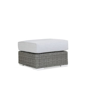 Emerald II Steel Grey Wicker Ottoman with Cushion in Spectrum Carbon