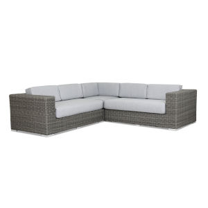 Emerald II Steel Grey Wicker Sectional Sofa with Cushion in Spectrum Carbon