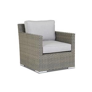 Majorca Gray Beige Club Chair with Cast Silver Cushions