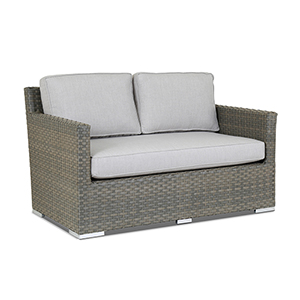 Majorca Gray Beige Loveseat with Cast Silver Cushions