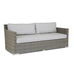 Majorca Gray Beige Sofa with Cast Silver Cushions