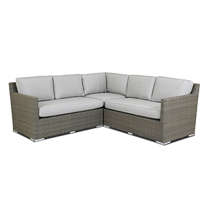 Majorca Gray Beige Sectional with Cast Silver Cushions