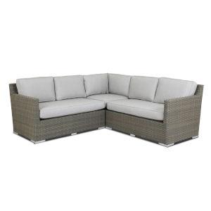 Majorca Brushed Stone Wicker Sectional Sofa with Cushion