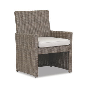 Coronado Driftwood Wicker Dining Chair with Cushion in Canvas Flax with Self Welt