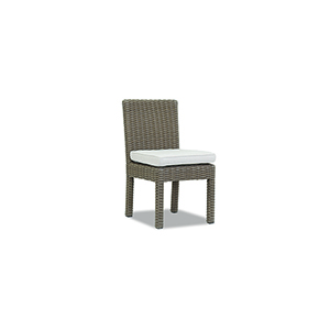 Coronado Light Brown Armless Dining Chair with Canvas Flax Cushion