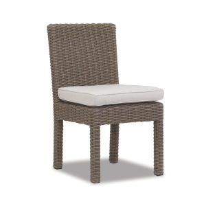 Coronado Driftwood Wicker Armless Dining Chair with Cushion in Canvas Flax with Self Welt