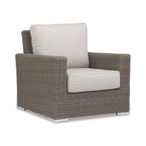 Coronado Driftwood Wicker Club Chair with Cushion in Canvas Flax with Self Welt