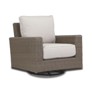 Coronado Driftwood Wicker Swivel Rocker with Cushion in Canvas Flax with Self Welt