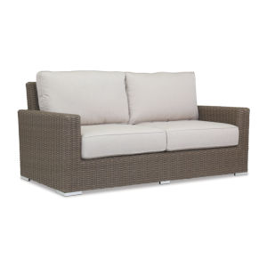 Coronado Driftwood Wicker Loveseat with Cushion in Canvas Flax with Self Welt