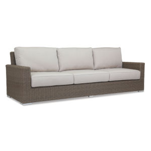 Coronado Driftwood Wicker Sofa with Cushion in Canvas Flax with Self Welt