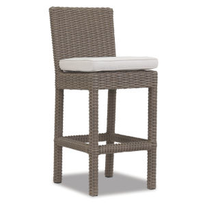 Coronado Driftwood Wicker Outdoor Barstool with Cushion in Canvas Flax with self welt