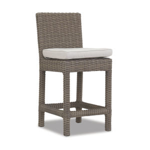 Coronado Driftwood Wicker Outdoor Counter Stool with Cushion in Canvas Flax with Self Welt